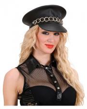 Biker Cap In Imitation Leather