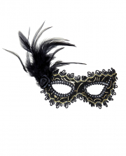 Black Mystic Eye Mask With Rose & Feathers