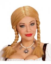 Blonde Perücke Wendy mit Zöpfen