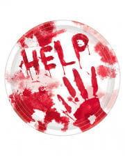 "Blutige Halloween Pappteller ""Help"" 10 St."