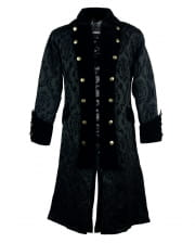Brocade Pirate Coat With Velvet Black