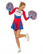 Cheerleader Damen Kostüm rot-blau