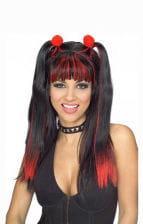 Cheerleader Perücke schwarz/rot
