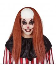 Clownsperücke mit langen Haaren und Halbglatze