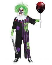 Crazy horror clown kids costume with mask