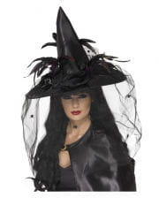 Noble Black witch hat with feathers