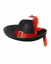 Edler Musketier Hut schwarz