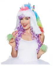 Unicorn hood with Pom Poms