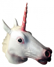 Einhorn Latex Maske mit Mähne
