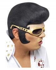 Elvis Perücke mit Stirnteil & Brille