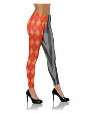 Harlequin Costume Leggings Red-black