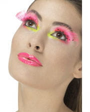 Feather eyelashes Neonpink with dots
