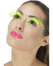 Feder Wimpern Neongrün mit Punkten