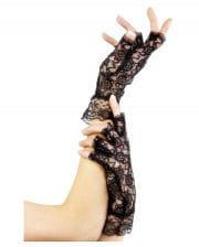 Fingerlose kurze Spitzen-Handschuhe schwarz