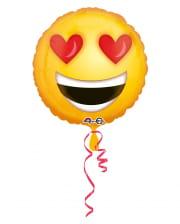 Folienballon Emoji verliebter Smiley 43cm