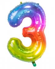 Folienballon Zahl 3 Regenbogen