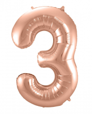 Foil Balloon Number 3 Rose Gold
