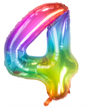 Foil Balloon Number 4 Rainbow