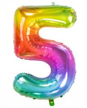 Foil Balloon Number 5 Rainbow