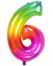 Foil Balloon Number 6 Rainbow