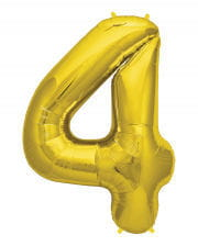 Folienballon Zahl 4 Gold