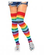 Striped Overknee Stockings In Rainbow Colors