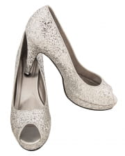 Glitter Peep Toe Pumps silber