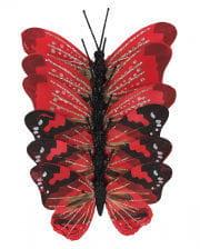 Glitter Butterflies Set of 6 red