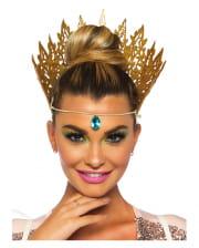 Goldene Glitzer Krone mit Juwel