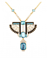 Golden Pharaoh Necklace With Rhinestones & Topaz Stones