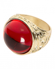 Golden Vampire Ring With Ruby Red Stone