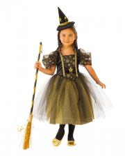 Goldenes Sternenhexen Kostüm mit Tüll für Kinder