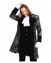Gothic Aristocrat Men Coat Silver Black