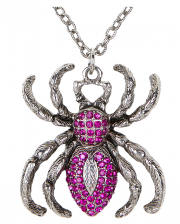 Gothic Necklace With Purple Rhinestone Spider