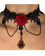 Gothic Lace Necklace With Rose
