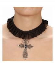 Gothic Halsband mit Kreuz Anhänger