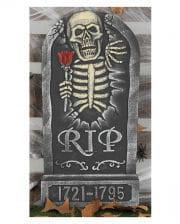 Grabstein mit Skelett und Rose