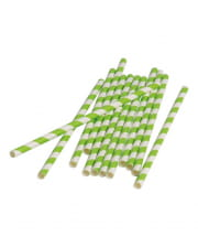 12 Paper Straws Green White