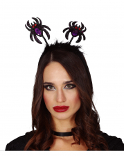 Hairband With Glitter Spiders And Feathers