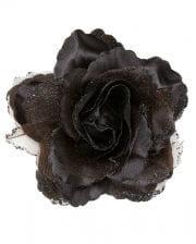 Haarspange schwarze Glitter-Rose