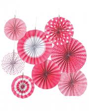 Hanging Decoration Fan Set Pink White 8 Pcs.