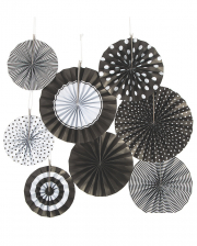 Hanging Deco Fan Set Black White 8pcs.