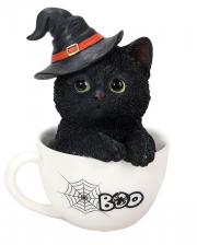Halloween Kätzchen in Teetasse 16cm