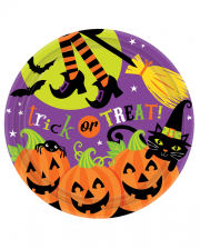 Halloween Paper Plate With Witch 8 Pcs.
