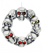 Halloween Totenschädel Türkranz mit LED Augen
