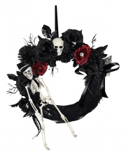 Halloween Door Wreath With Skeleton & Flowers