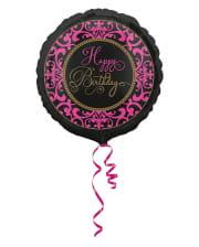 Happy Birthday Folienballon schwarz-pink 43cm