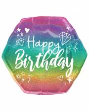 Happy Birthday Holographic Glitzer Folienballon