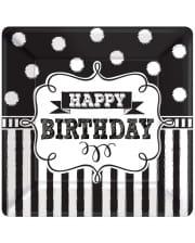 Happy Birthday Pappteller schwarz-weiß 8 St.