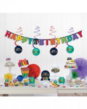 Happy Birthday Party Deko Set Regenbogen 17-teilig